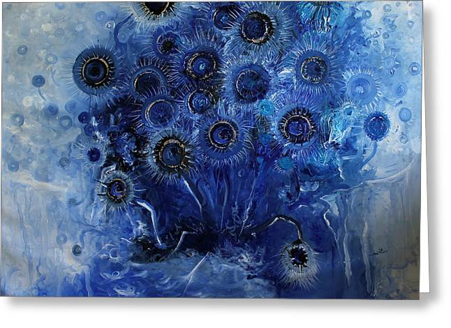 Sunflowers Blue Greeting Card by Hermes Delicio