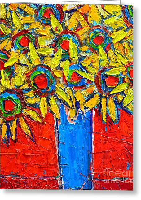 Sunflowers Bouquet In Blue Vase Greeting Card by Ana Maria Edulescu