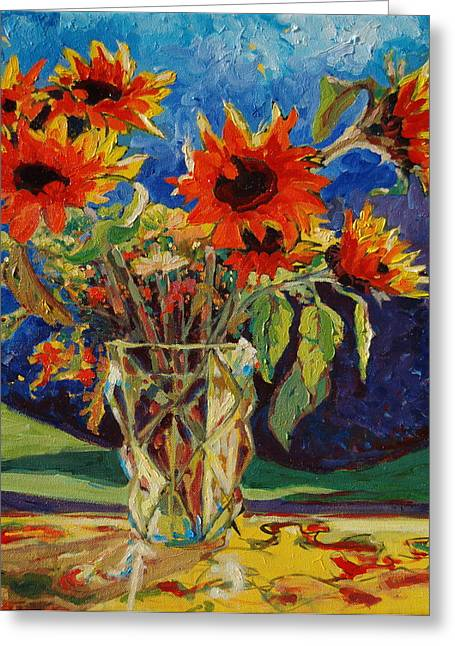Sunflowers In A Crystal Vase Greeting Card
