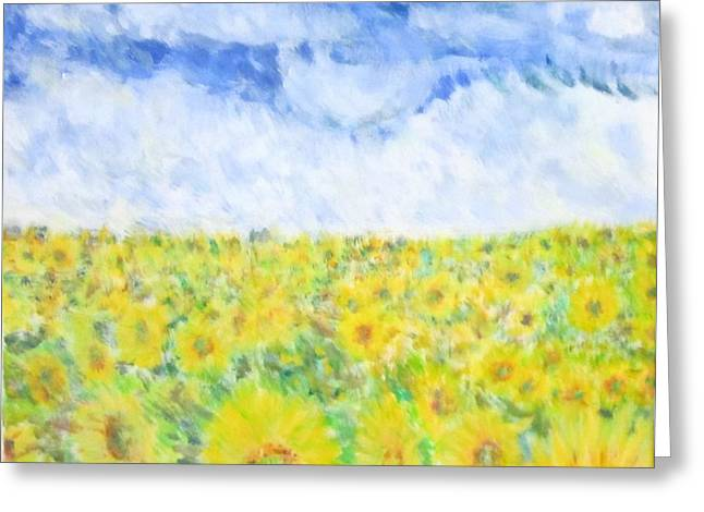 Sunflowers In A Field In  Texas Greeting Card