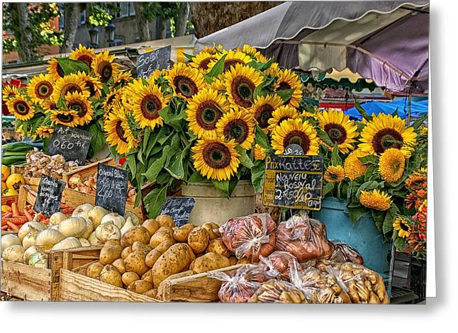 Sunflowers In A French Market Greeting Card