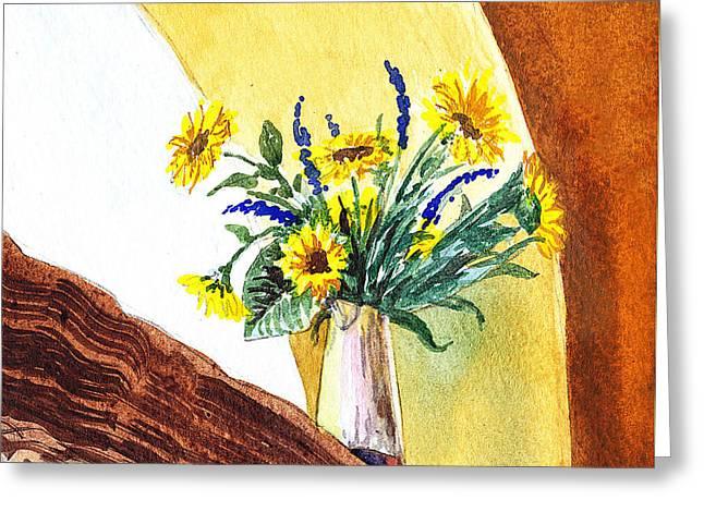 Sunflowers In A Pitcher Greeting Card by Irina Sztukowski