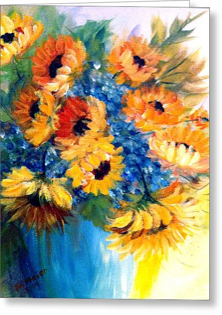 Greeting Card featuring the painting Sunflowers In A Vase by Dorothy Maier