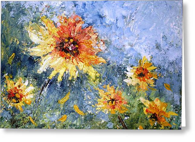 Sunflowers In Bloom Greeting Card by Mary Spyridon Thompson