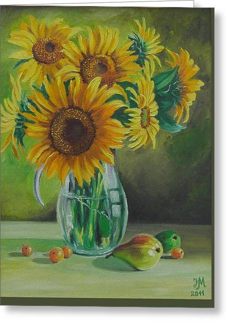 Sunflowers In Glass Jug Greeting Card