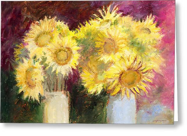 Sunflowers In Jars Greeting Card