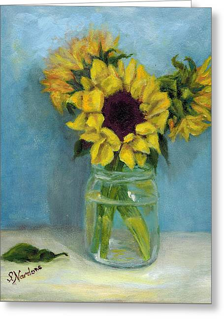 Greeting Card featuring the painting Sunflowers In Mason Jar by Sandra Nardone