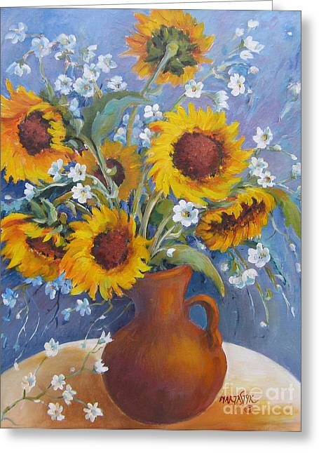 Greeting Card featuring the painting Sunflowers In Pitcher by Marta Styk