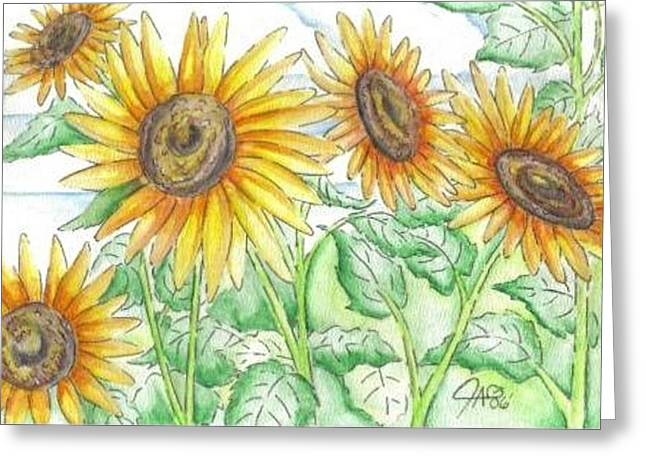 Sunflowers In The George Garden Greeting Card by The GYPSY And DEBBIE