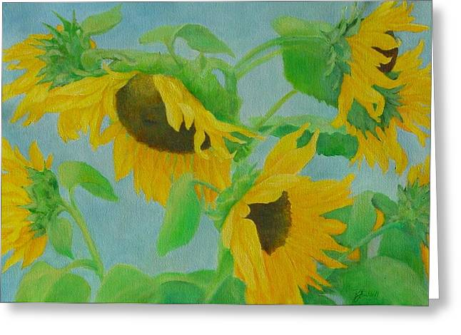Sunflowers In The Wind 2 Greeting Card