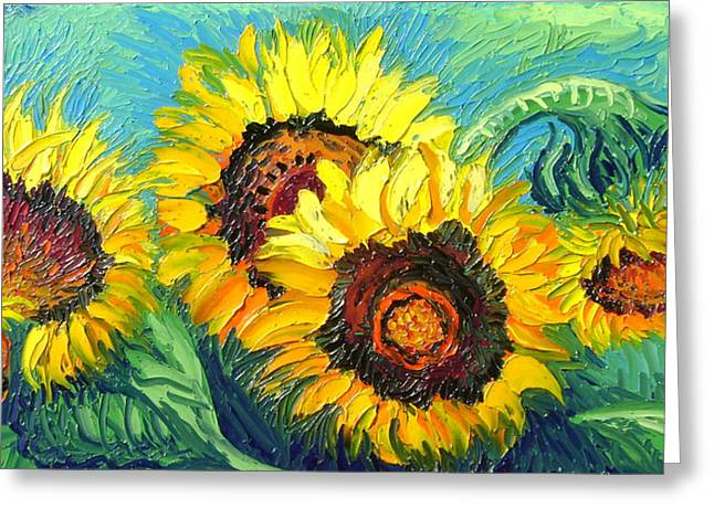 Greeting Card featuring the painting Sunflowers by Isabelle Gervais