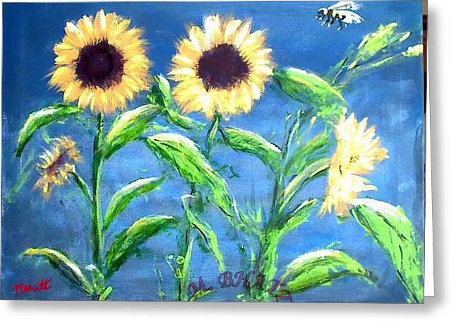Sunflowers Greeting Card by M Bhatt