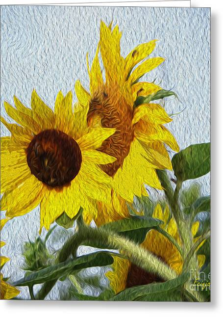 Greeting Card featuring the photograph Sunflowers Of The East by Ecinja Art Works
