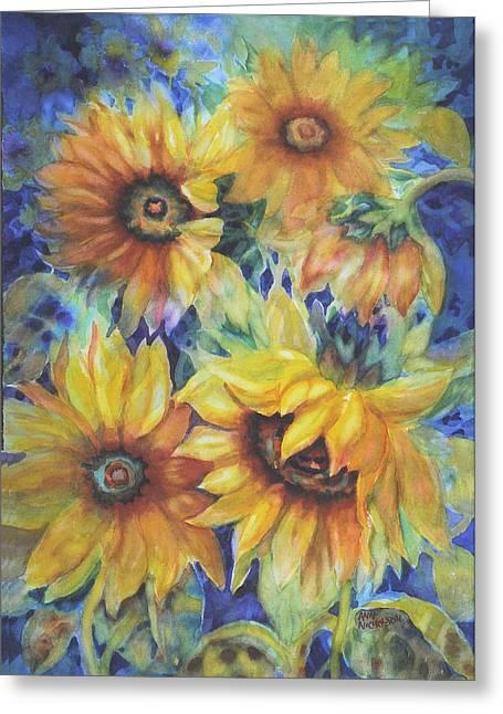 Sunflowers On Blue Greeting Card by Ann Nicholson
