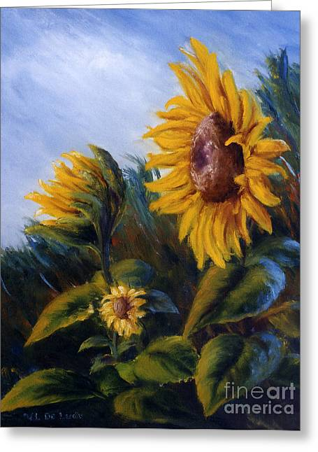 Greeting Card featuring the painting Sunflowers On Green Hill Under Blue Sky by Lenora  De Lude