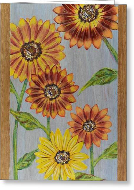 Sunflowers On Wood Panel I Greeting Card by Elizabeth Golden
