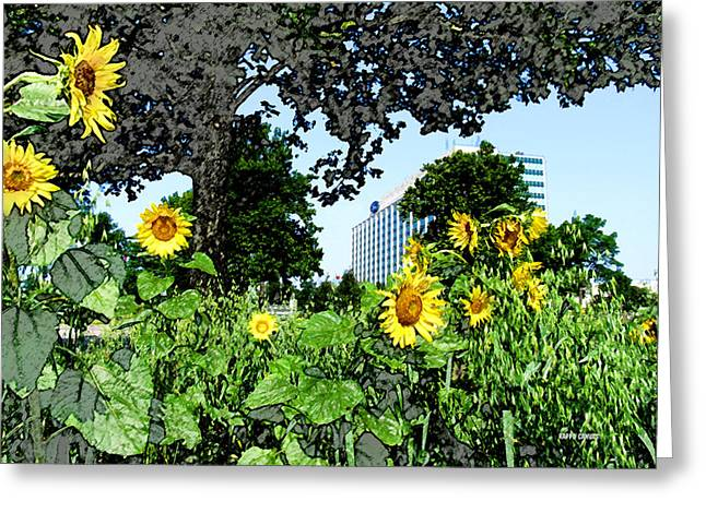 Sunflowers Outside Ford Motor Company Headquarters In Dearborn Michigan Greeting Card