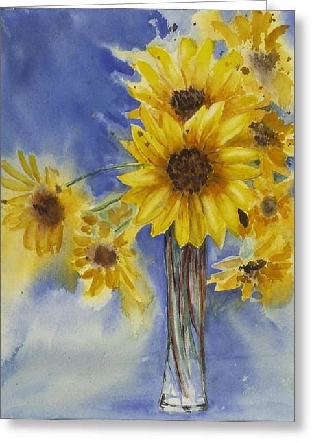Sunflowers Picked Today Greeting Card by Judy Loper