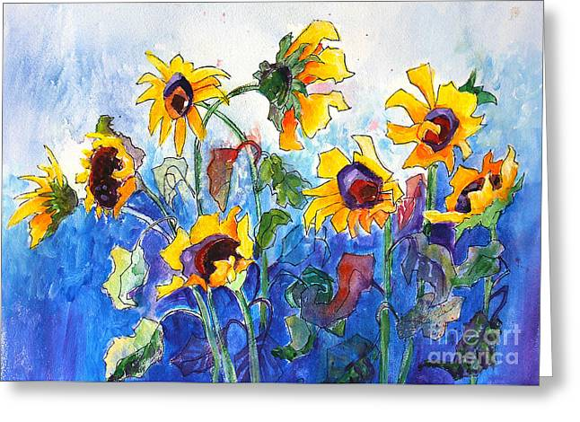 Greeting Card featuring the painting Sunflowers by Priti Lathia