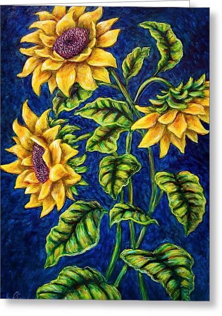 Sunflowers Greeting Card by Sebastian Pierre