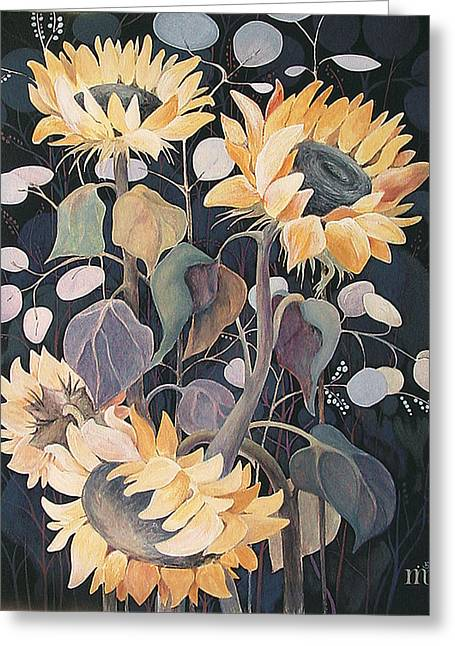 Greeting Card featuring the painting Sunflowers' Symphony by Marina Gnetetsky