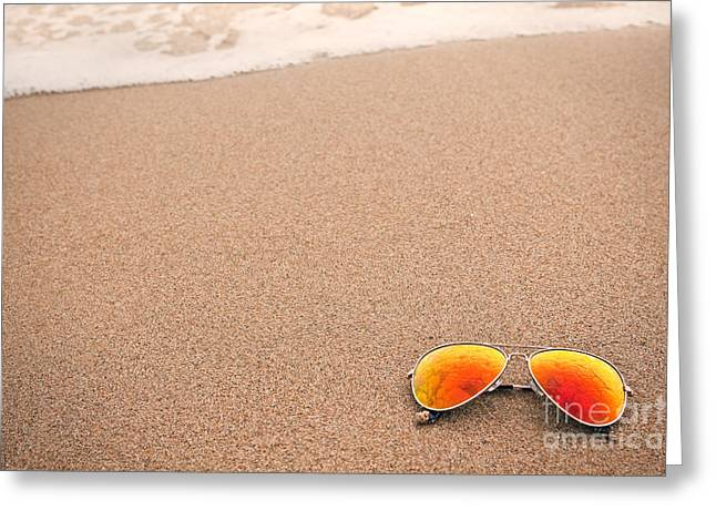 Sunglasses On The Beach Greeting Card by Sharon Dominick