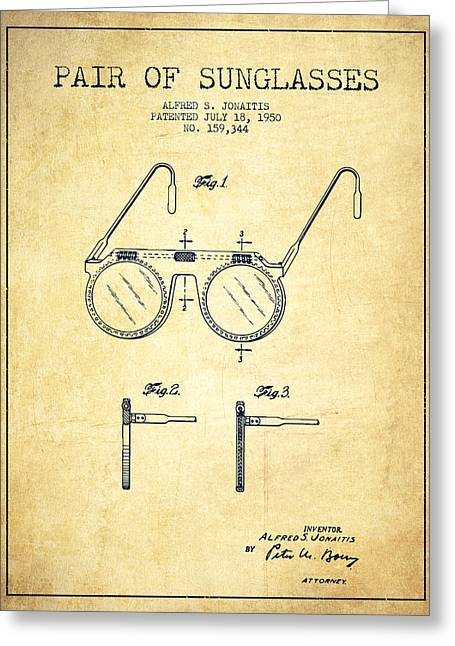 Sunglasses Patent From 1950 - Vintage Greeting Card