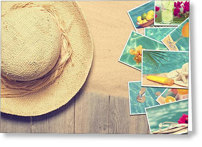 Sunhat And Postcards Greeting Card by Amanda Elwell