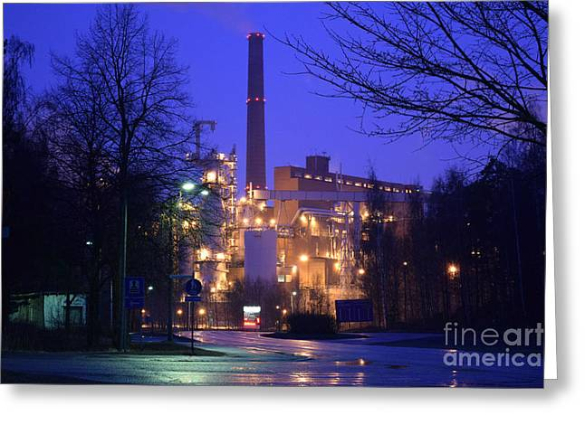 Sunila Pulp Mill By Rainy Night Greeting Card