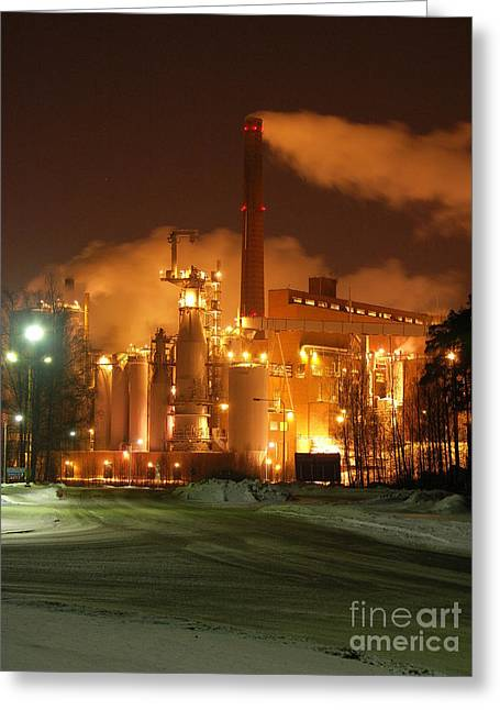 Sunila Pulp Mill By Winter Night Greeting Card
