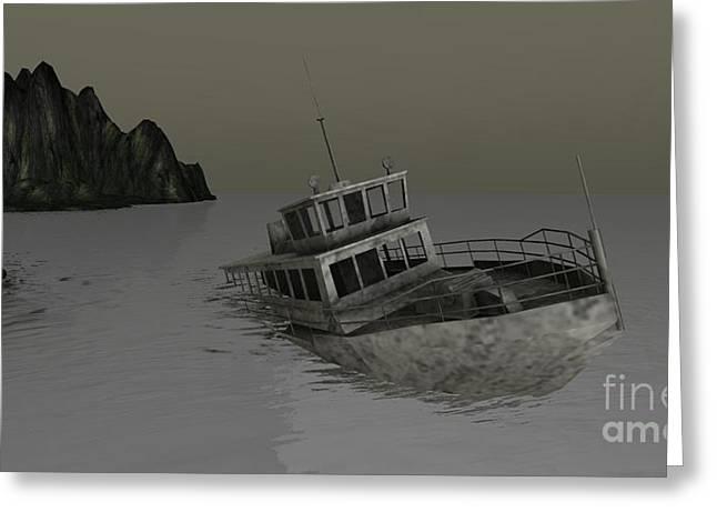 Greeting Card featuring the digital art Sunken Boat by Susanne Baumann