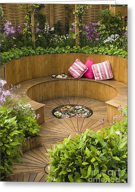 Sunken Garden Greeting Card by Anne Gilbert
