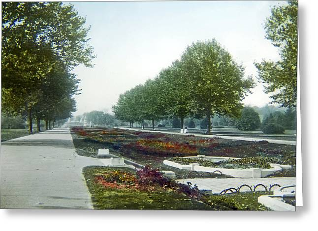 Greeting Card featuring the photograph Sunken Gardens Fairmount Park Philadelphia 1907 by A Gurmankin