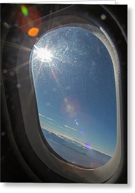 Sunlight Flare In Aircraft Window Greeting Card by Jim West