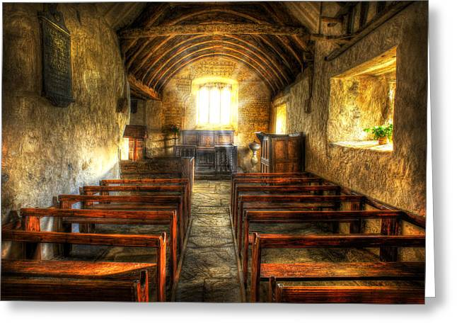 Sunlight Flooding The Ancient Chapel Greeting Card