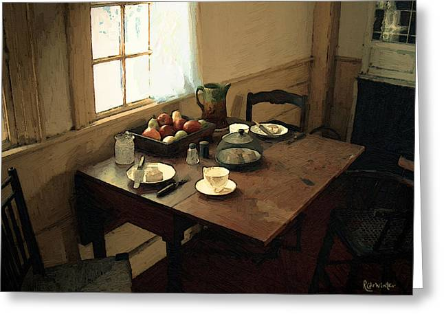 Sunlight On Dining Table Greeting Card by RC deWinter