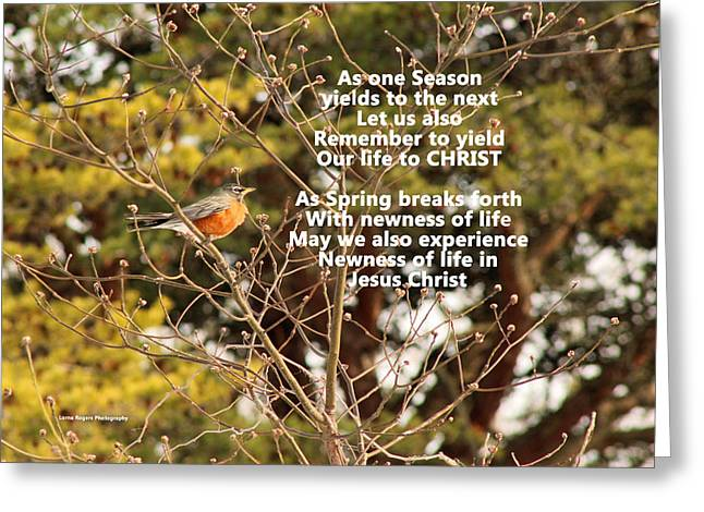 Greeting Card featuring the photograph Sunlight On Robin With Poetry by Lorna Rogers Photography