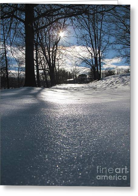 Greeting Card featuring the photograph Sunlight On Snow by Melissa Stoudt