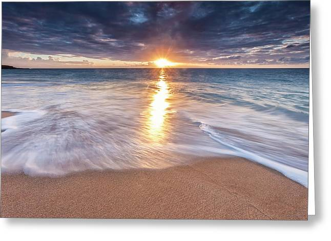 Sunlight Reflected On The Ocean Greeting Card by Scott Mead