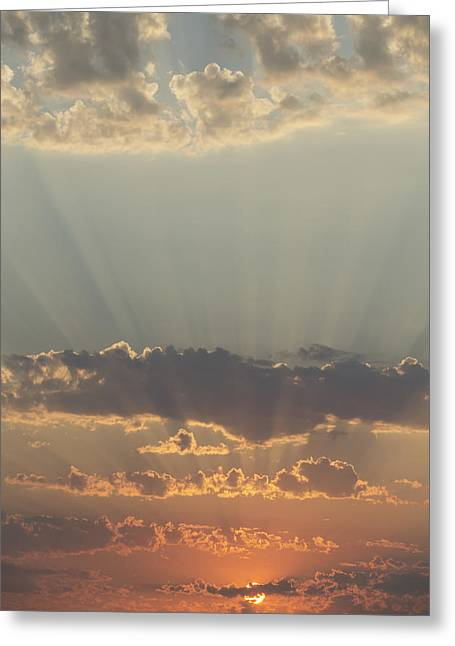 Sunlight Shining Through Clouds And Greeting Card by Keith Levit