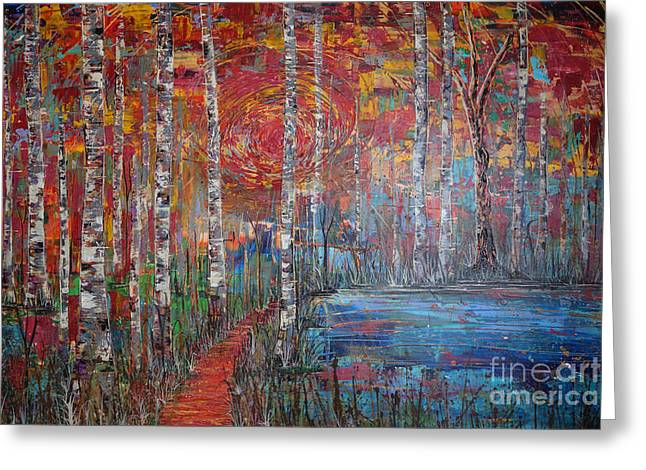 Greeting Card featuring the painting Sunlit Birch Pathway by Jacqueline Athmann