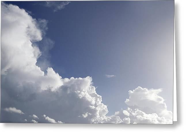 Sunlit Clouds Greeting Card by Les Cunliffe