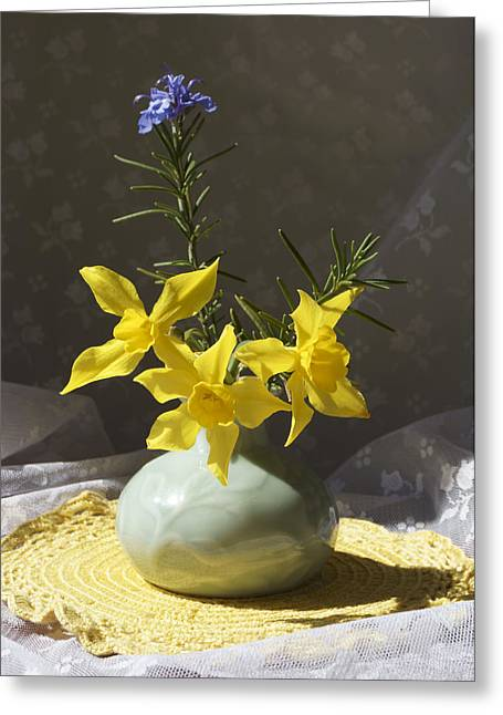 Sunlit Daffodils In A Celadon Vase Greeting Card by MM Anderson