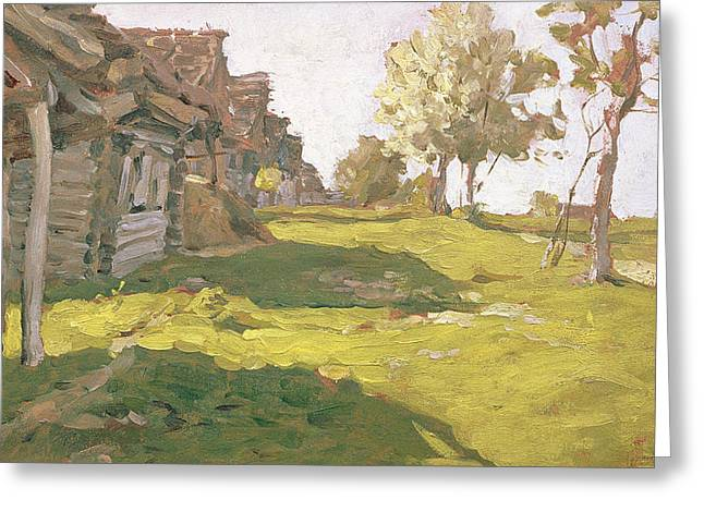 Sunlit Day  A Small Village Greeting Card by Isaak Ilyich Levitan