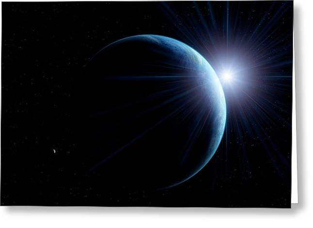 Sunlit Earth From Space Greeting Card