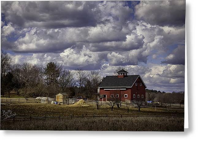 Greeting Card featuring the photograph Sunlit Farm by Betty Denise