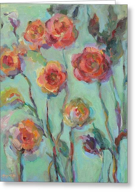 Greeting Card featuring the painting Sunlit Garden by Mary Wolf