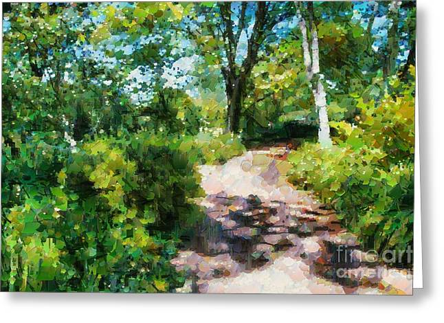Greeting Card featuring the digital art Sunlit Garden Path by Fran Woods