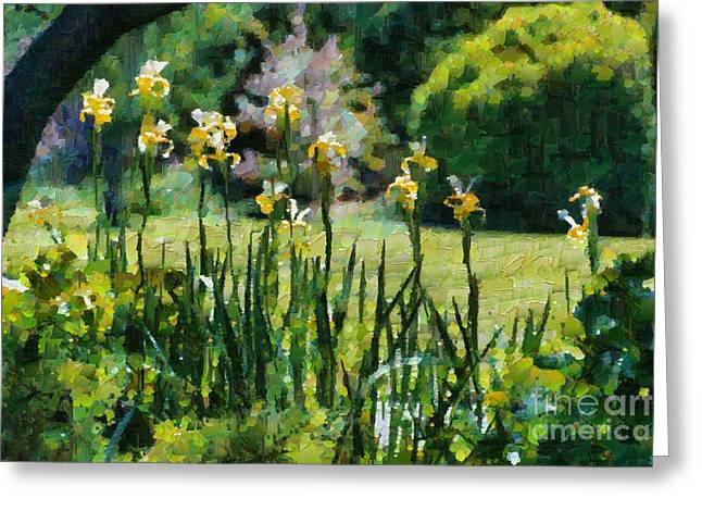Greeting Card featuring the digital art Sunlit Irises by Fran Woods