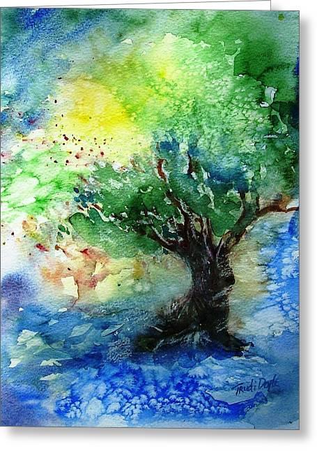 Sunlit Olive Tree In Skiathos  Greeting Card by Trudi Doyle